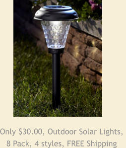 Only $30.00, Outdoor Solar Lights,  8 Pack, 4 styles, FREE Shipping